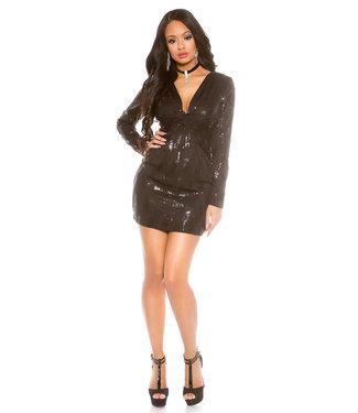 ClassyWear Zwart glitter mini-jurkje