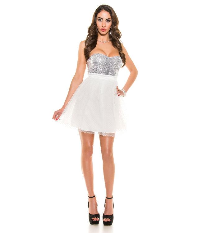 ClassyWear Witte party jurk met glitter