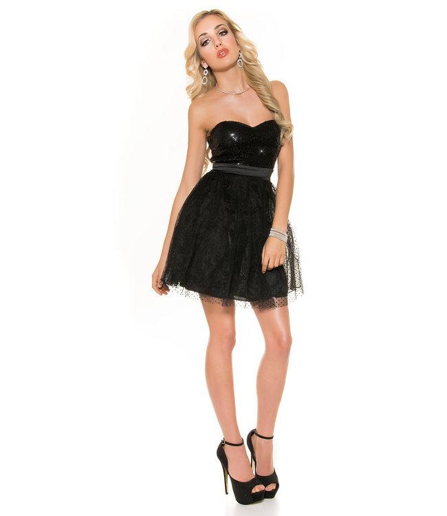 ClassyWear Zwarte party jurk met glitter