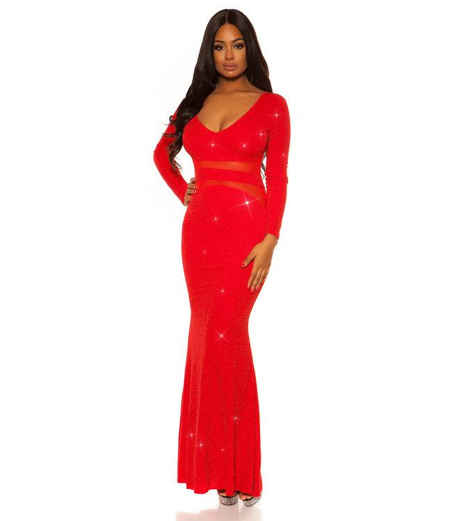 ClassyWear Fancy lange galajurk in rood