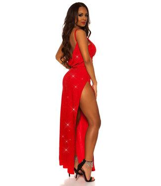 ClassyWear Sexy elegante lange galajurk in rood