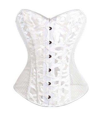 ClassyWear Wit overbust burlesque corset met leatherlook details