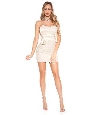 ClassyWear Kanten bandeau mini-jurk in beige