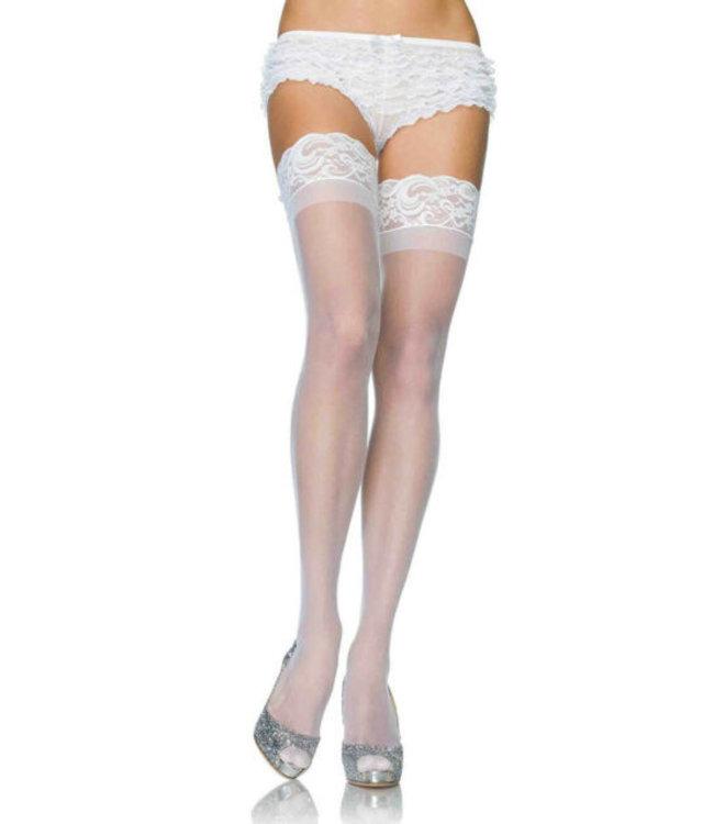 ClassyWear Queen size kousen met kant in wit