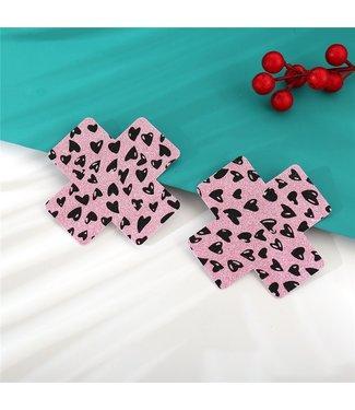 ClassyWear Roze glitter tepelplakkers (kruis)