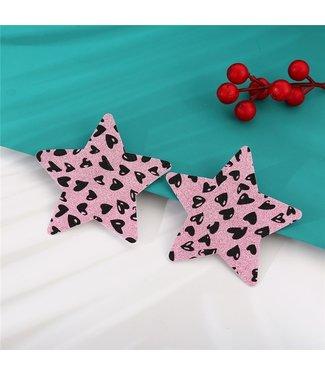 ClassyWear Roze glitter tepelplakkers (star)