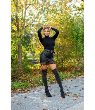 ClassyWear Leren rok met kant in zwart