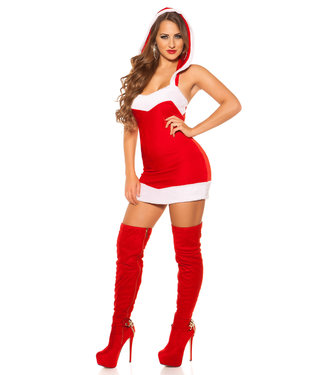 ClassyWear Rode kerst mini-jurk met open rug