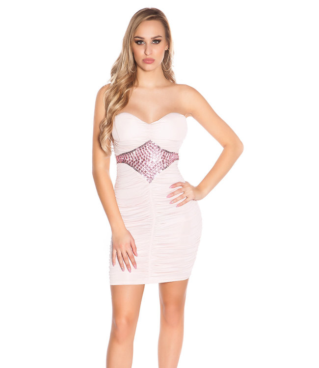 Mapalé Mini-jurkje met gecentreerde steentjes(pink)