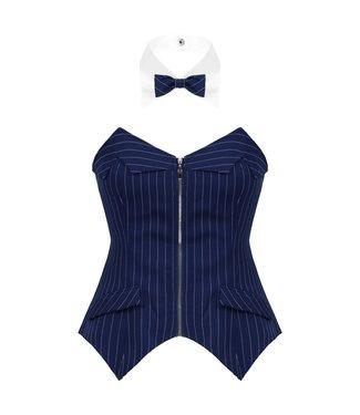Corset-look topje in blauw