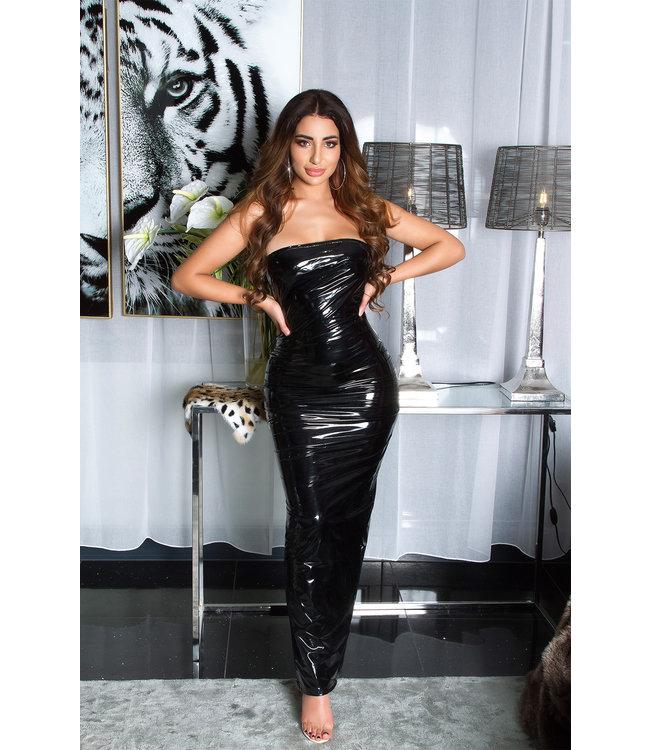 ClassyWear Sexy zwarte lange jurk wetlook