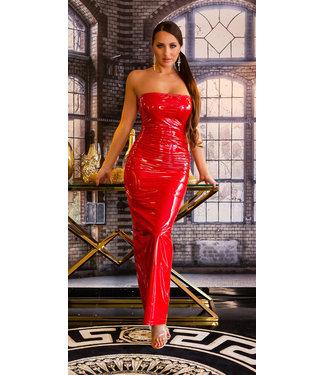 ClassyWear Sexy rode lange jurk wetlook