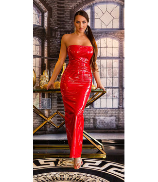 ClassyWear Sexy rode lange lak jurk