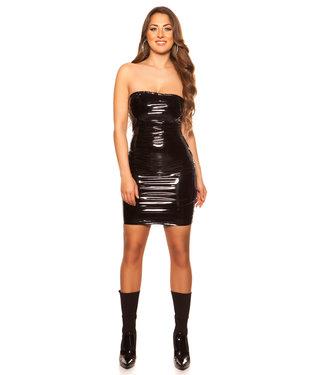 Strapless lak jurkje (zwart)