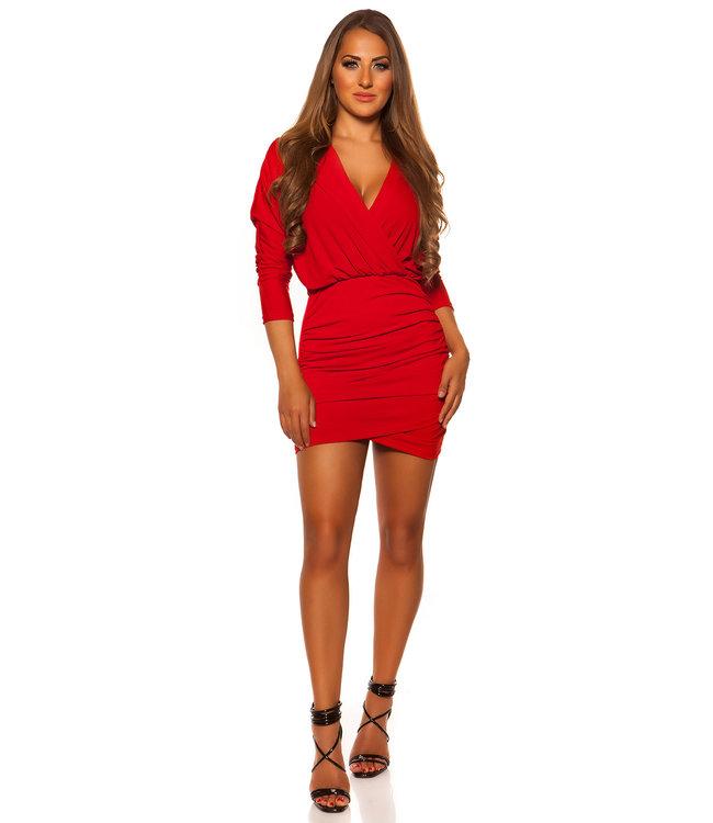 Rood 'wrap' jurkje