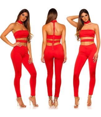 Cut out jumpsuit in rood