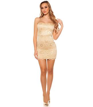 ClassyWear Mini-jurkje met kant in sand gold
