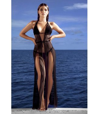 Mapalé Luxe cover-up beach jurkje/kimono - zwart