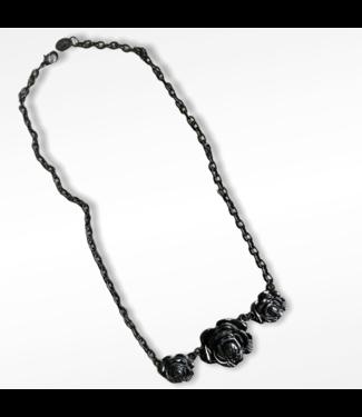ClassyWear Gothic black rose ketting
