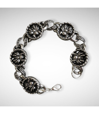 ClassyWear Zwarte spin metalen armband