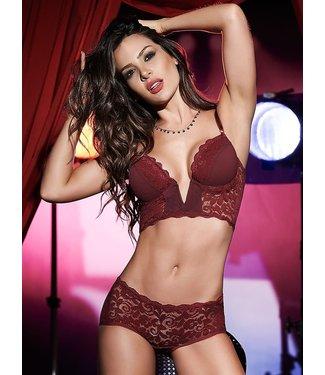 Mapalé Sexy 2-delig lingerie setje met kant - burgundy