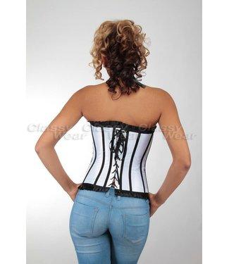 Overbust corset met zwarte/satijn details - blauw