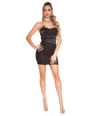 ClassyWear Kanten bandeau mini-jurk in zwart