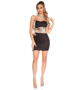 ClassyWear Kanten bandeau mini-jurk - leo/zwart