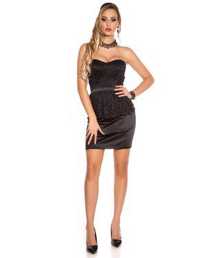 ClassyWear Bandeau satijnen jurkje met kanten peplum - zwart