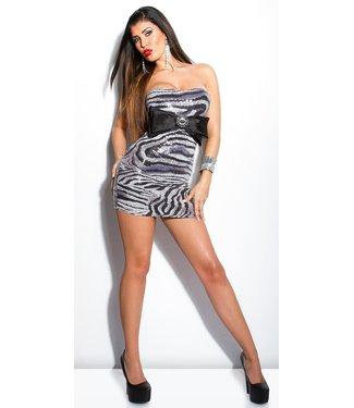 ClassyWear Giltter bandeau mini jurkje met strik - zebra