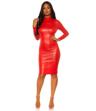 ClassyWear Wetlook bodycon jurkje met open rug - rood