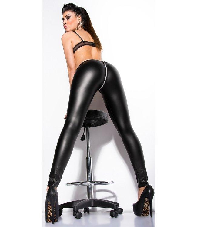 ClassyWear Wetlook legging met doorlopende rits - zwart