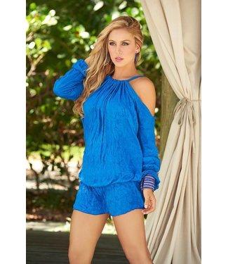 Blauw jurkje met open schouders