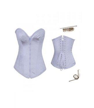 Steel Boned wit corset met rits