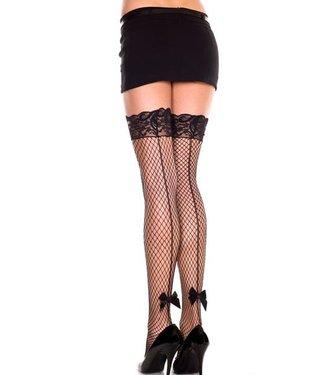 Music Legs Zwarte netkous met naad en strikje van Music Legs