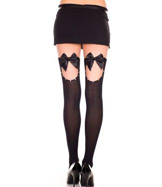 Music Legs Zwarte kous met open detail en zwarte strik