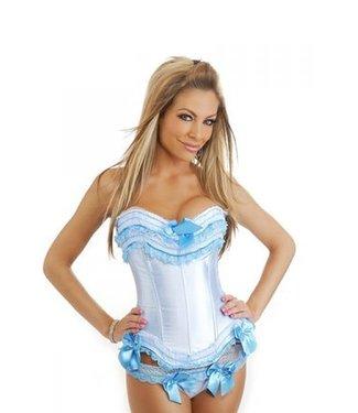 Wit corset met lichtblauwe details