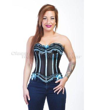 Zwart/blauw corset
