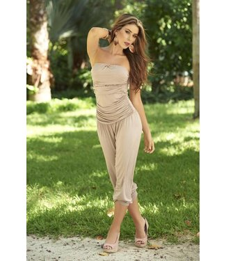 Strapless jumpsuit mocca