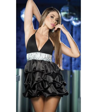 Zwart jurkje met band en plooien
