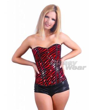 Corset zwart/rood zebra motief