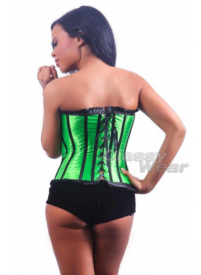 Groen corset met zwarte details