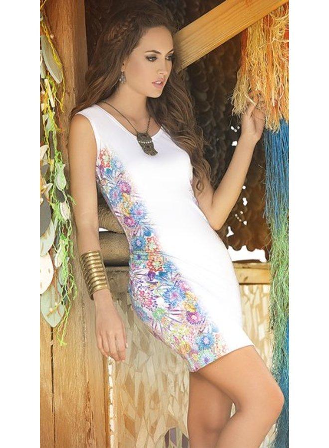Wit jurkje bloemenprint