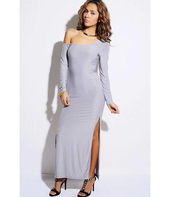 3736309a1aa94d Lange zilvergrijze jurk met split - ClassyWear