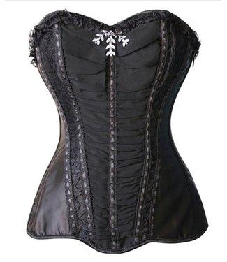 Corsetten Zwart strapless corset met kant
