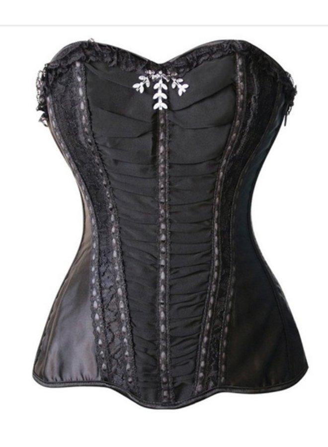 Zwart strapless corset met kant