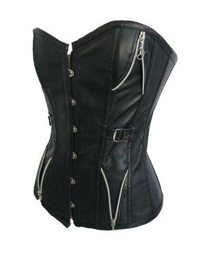 Zwart leatherlook corset met ritsjes