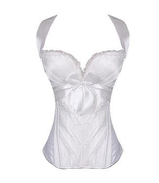 Gebroken wit halter corset