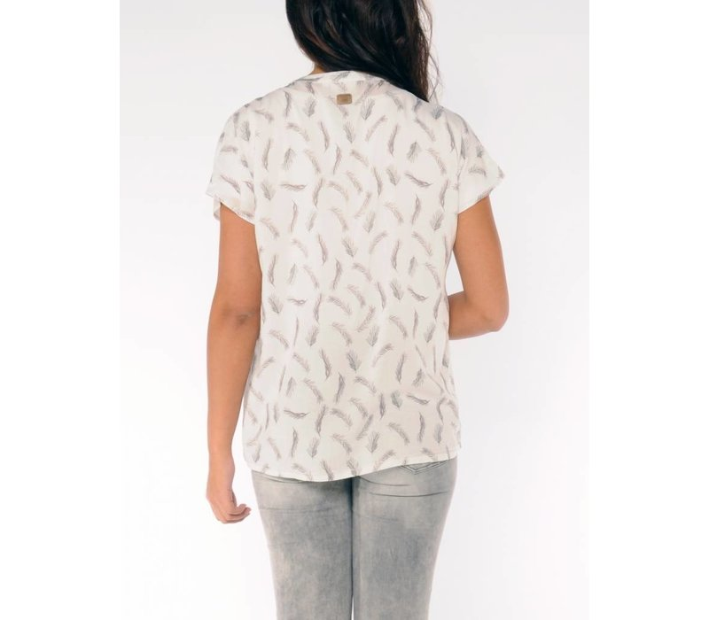 blouse SALVATORA T white - taupe