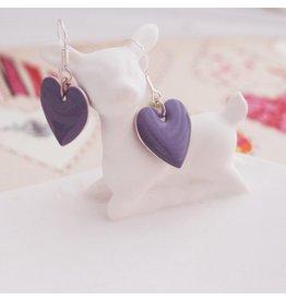 Zilte atelier Oorbellen hartjes paars